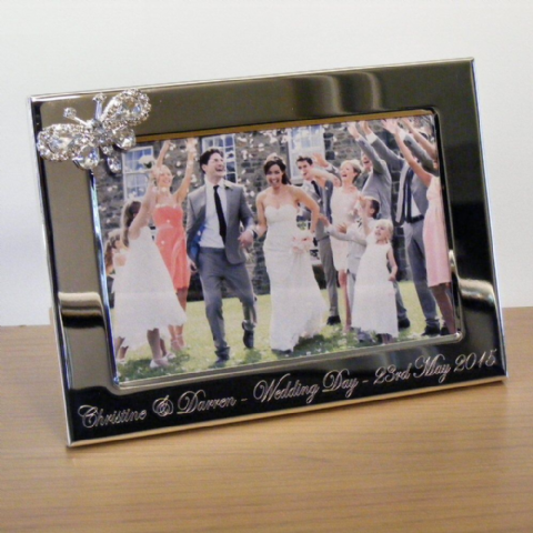 Diamante Butterfly Photo Frame Personalised Wedding Gift